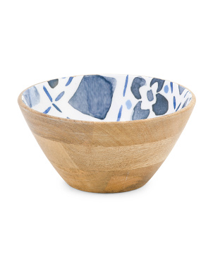Small Wooden Enamel Serve Bowl