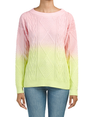 Shaker Ombre Cable Cotton Pullover Sweater