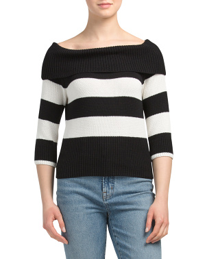 Cotton Striped Boat Neck Pullover Sweater