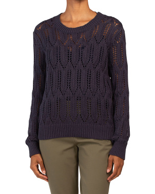Cotton Pointelle Crew Neck Pullover Sweater