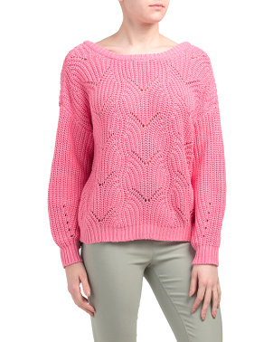 Pointelle U Back Pullover Sweater