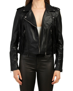 Faux Leather Jacket With Fringe
