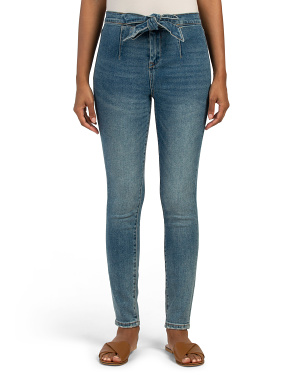High Rise Tie Waist Skinny Jeans