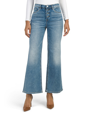 Stacked Button Wide Leg Jeans