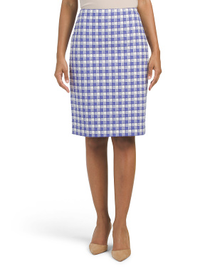 Gingham Tweed Pencil Skirt