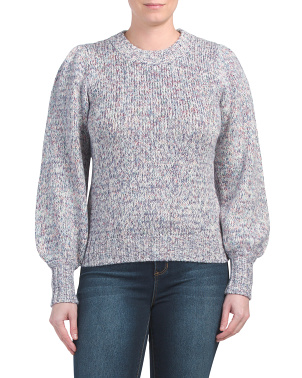 Cotton Blend Puff Sleeve Pullover Sweater