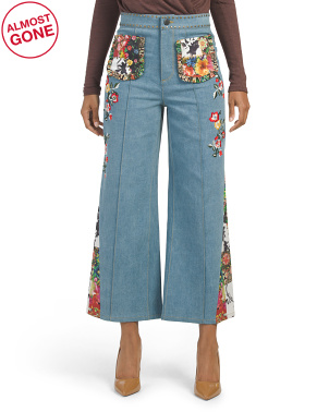 Reina Embroidered High Waist Denim Pants