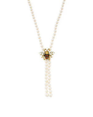 Cz Bee Pearl Necklace