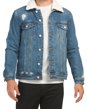 Denim Trucker Jacket With Sherpa Collar