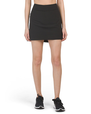 Stretch Woven Skort With Side Zipper Pockets