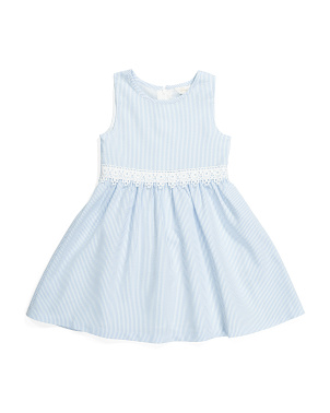 Girls Seersucker Fit & Flare Dress