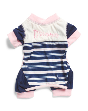 Dreamer Script Stripe Dog Pajamas