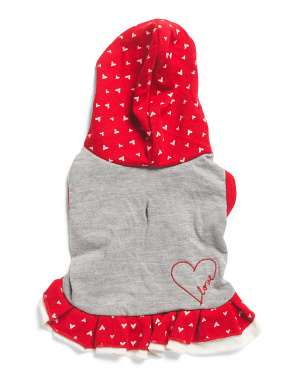 Hooded  Heart Print Dog Dress