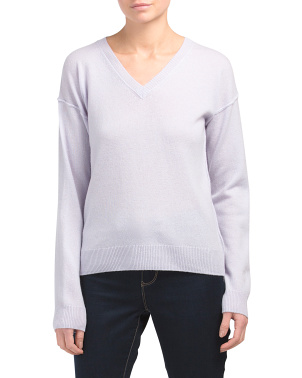 Cashmere Relaxed V Neck Pullover Sweater