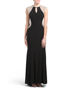 Made In Usa Beaded Illusion Cap Sleeve Gown