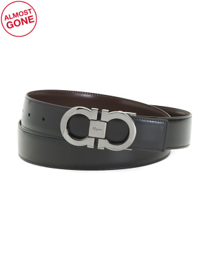 Made In Italy Leather Reversible Belt