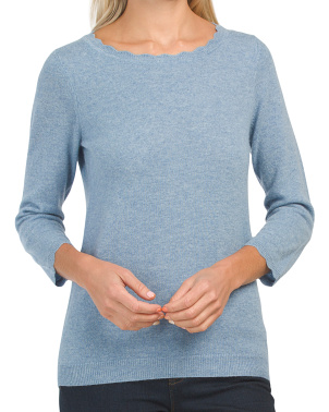 Cashmere Scalloped Sweater