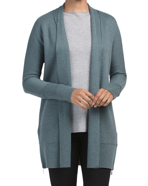 Shawl Collar Cardigan With Exposed Seams