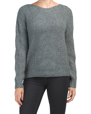 Boat Neck Sweater With Pointelle Detail