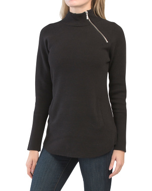 Asymmetrical Zip Mock Neck Sweater