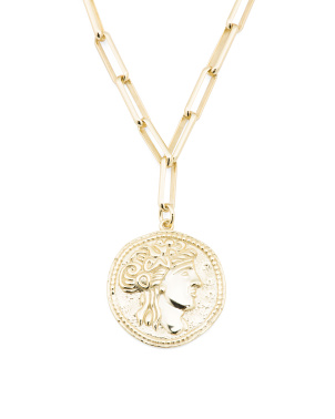 14k Gold Plated Sterling Silver Greek Goddess Charm Necklace