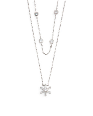 Rhodium Plated Sterling Silver Cz Flower Double Layer Necklace