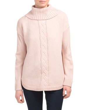 Cable Neck Rounded Hem Turtleneck Sweater