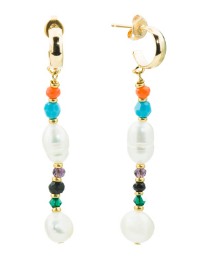 Made In Usa 18k Gold Plated Sol Pearl Drop Earrings