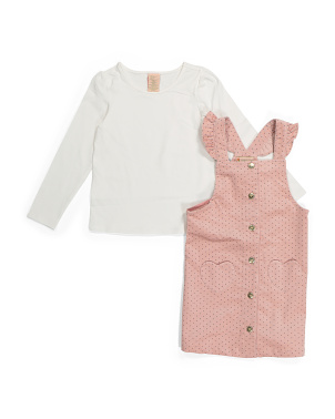 Toddler Girls Heart Pocket Corduroy Jumper Set