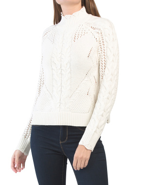 Mock Neck Scalloped Pointelle Sweater