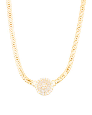 14k Gold Plated Sterling Silver Cz Disc Necklace