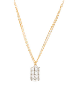14k Gold Plated Sterling Silver Cz Pave Dog Tag Necklace