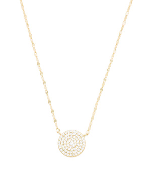14k Gold Plated Sterling Silver Cz Station Disc Necklace