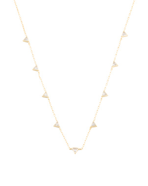 14k Gold Plated Sterling Silver Cz Triangle Station Necklace