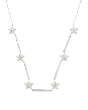 Rhodium Plated Sterling Silver Pave Cz Star Necklace