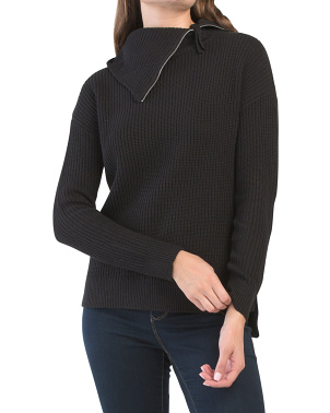 Split Neck Sweater With Zipper Neck Sweater