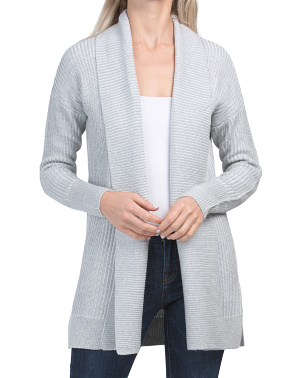Shawl Collar Cardigan With Plaited Stitch