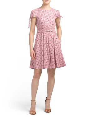 Petite Polka Dot Smocked Waist Dress