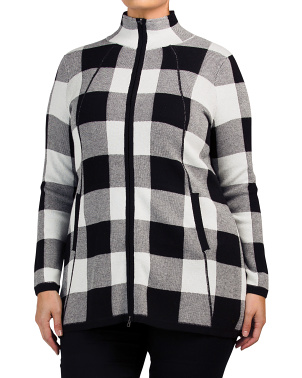 Plus Long Sleeve Full Zip Checkered Cardigan