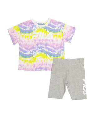 Big Girls 2pc Tie Dye Top And Bike Short Set