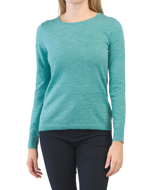 Extrafine Merino Wool Classic Crew Neck Pullover Sweater