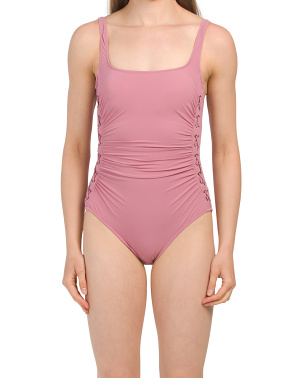 Moto Scoop Neck One-piece Swimsuit
