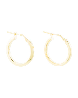 Made In Italy Set Of 2 Sterling Silver 10mm And 15mm Hoops
