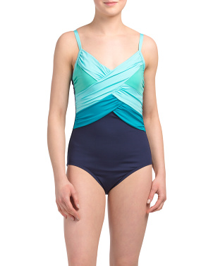 Tummy Control Color Block One-piece Swimsuit