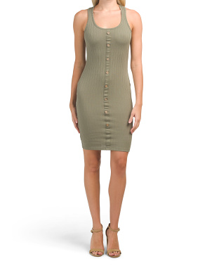 Juniors Sleeveless Button Front Bodycon Dress