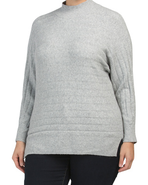 Plus Long Sleeve Textured Mock Neck Sweater
