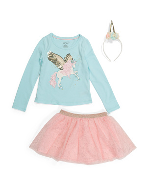 Girls 2pc Pegasus Mesh Skirt Set With Headband