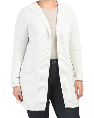 Plus Long Sleeve Open Cardigan
