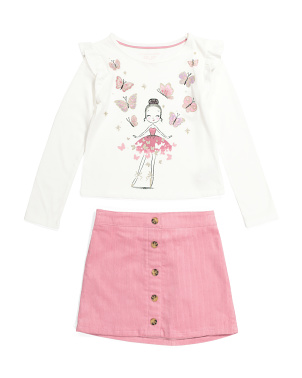 Girls 2pc Ballerina Corduroy Skirt Set