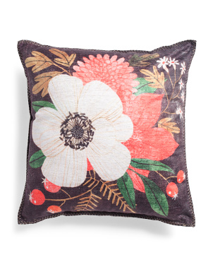 18x18 Indoor Outdoor Floral Pillow